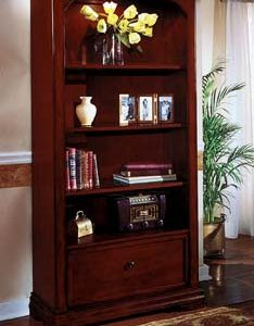 DMI Rue de Lyon File Bookcase, Chocolate Patina color Wood Veneer
