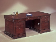 "DMI Rue de Lyon Executive Desk (30""x66"") - Chocolate Patina color wood veneer"