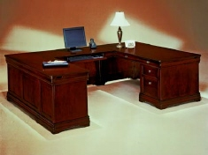 DMI Rue de Lyon Executive U-shape Desk, Chocolate Patina color wood veneer