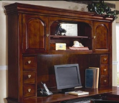 DMI Rue de Lyon Hutch for U-shape desk, Chocolate Patina color wood veneer.