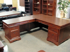 DMI Rue de Lyon Executive L-shape Desk, Chocolate Patina Color Wood Veneer