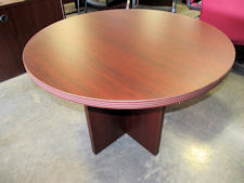 "New DMI Fairplex 42"" Round Table - Available in Mocha, Mahogany(shown), Walnut or Cognac Cherry Finish"